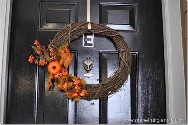 Grapefruit & Granola Fall Wreath Front Door 1