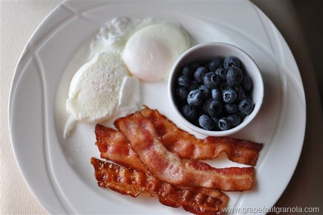 Poached Eggs Blueberries Bacon