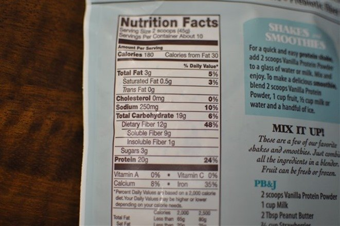 Bob's Red Mill Vanilla protein powder nutritional booster nutrition facts