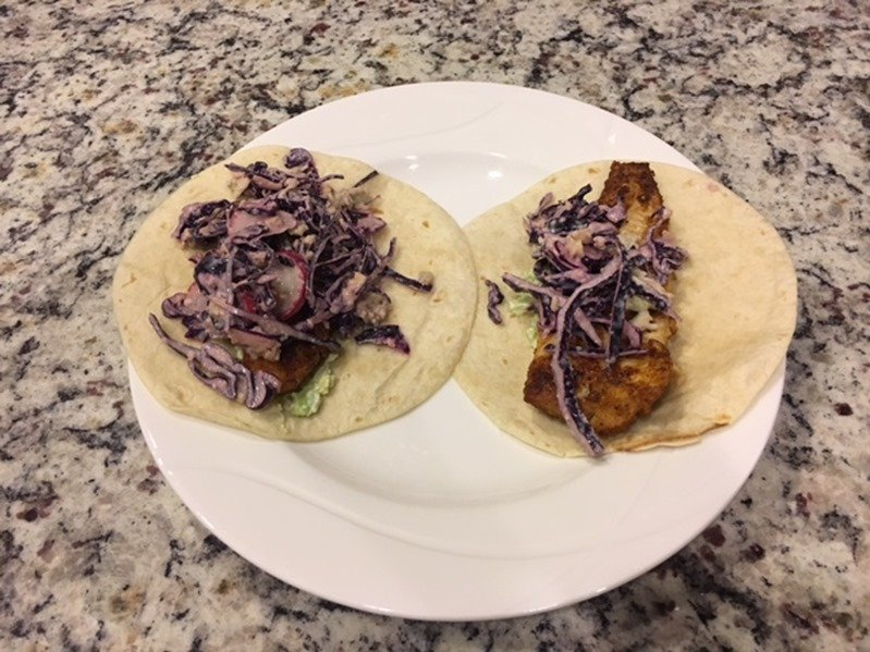 Hello Fresh Tacos with Sole featuring an Avocado Crema and Crispy Cabbage Slaw finished