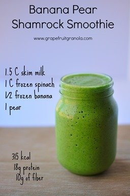 Banana Pear Shamrock Smoothie Recipe